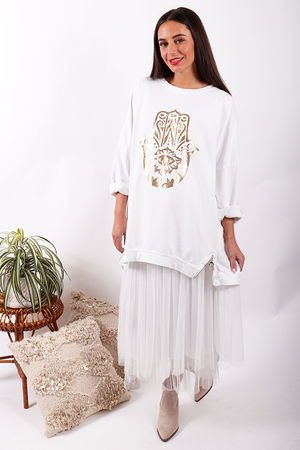 Laundry B Hamsa Hand Super Slouch Sweat White