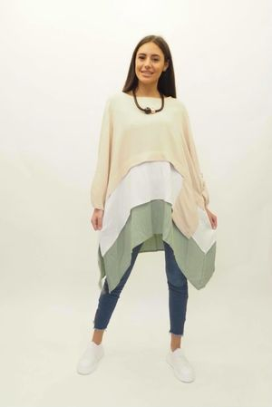 Layered Colour Block Top Stone