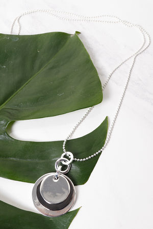 Layered Disc Necklace Pewter