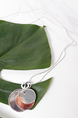 Layered Disc Necklace Rose