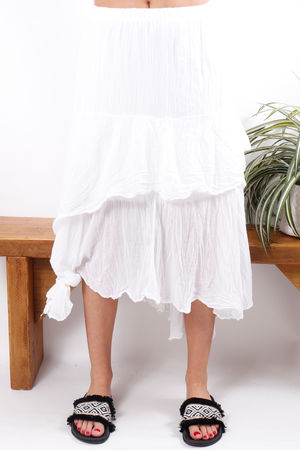 Layered Knots Skirt White