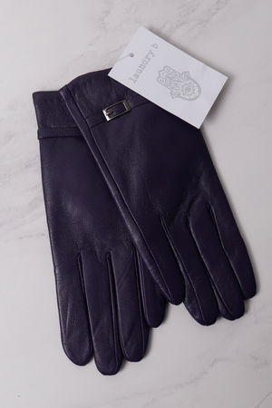Leather Buckle Gloves Aubergine