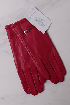 Leather Buckle Gloves Magenta