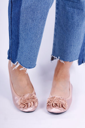 Leather Flower Ballet Pump Champagne Rose