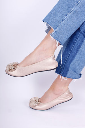 Leather Flower Ballet Pump Gold