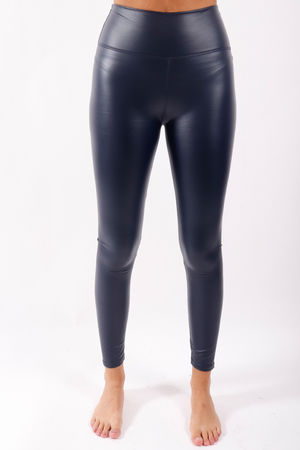 Leather Look Leggings Navy