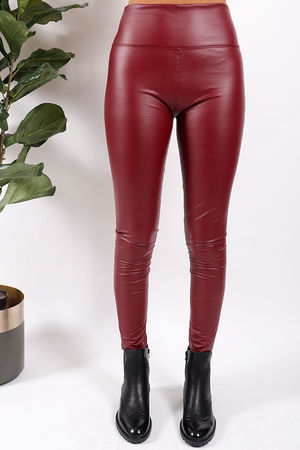 Leather Look Leggings Wine
