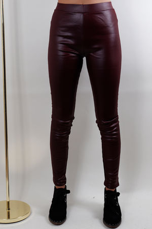 Leather Look Stretch Pants Burgundy