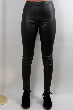 Leather Look Stretch Pants Olive