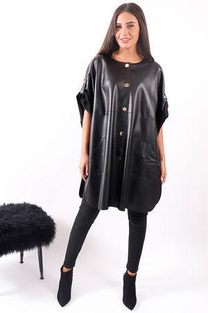 Leatherette Cape Black