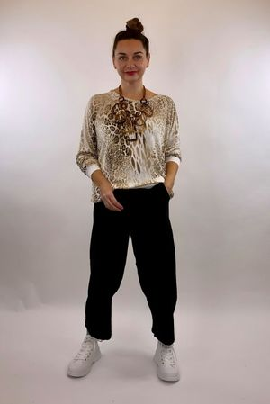 Leopard Fine Knit  - Winter White