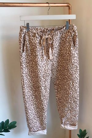 Leopard Crinkle Joggers Blush