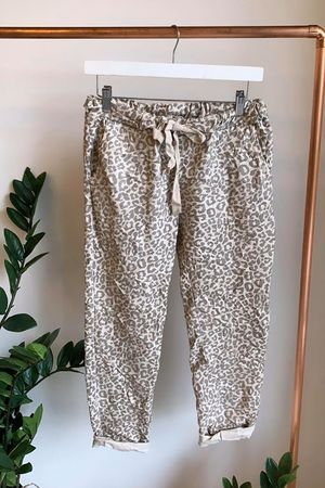 Leopard Crinkle Joggers Stone