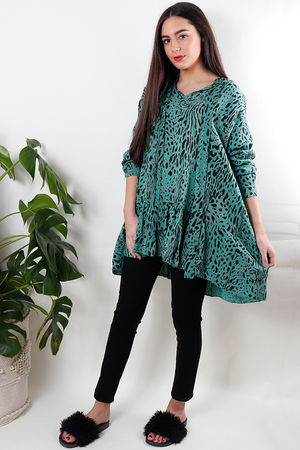 Leopard Drop Waist Tunic Emerald