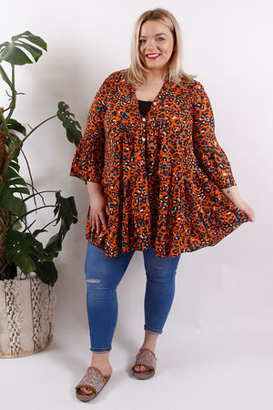 Leopard Flare Tunic Dress Orange
