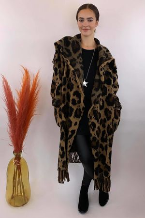 Leopard Fringe Coatigan