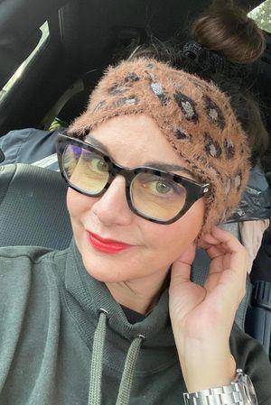 Leopard Knot Headband Tan