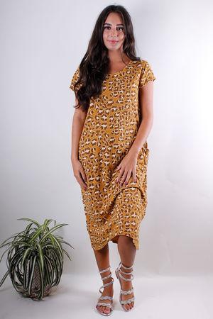 Leopard Long Pocket Tee Dress Deep Sun