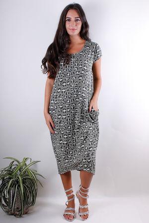 Leopard Long Pocket Tee Dress Khaki