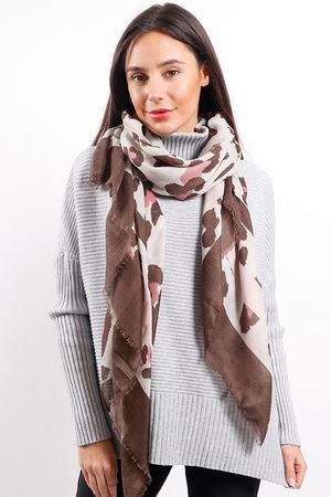 Leopard Mixed Animal Scarf Pink Mocha