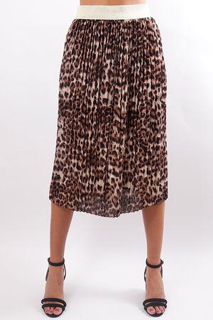 Leopard Pleat Midi Skirt