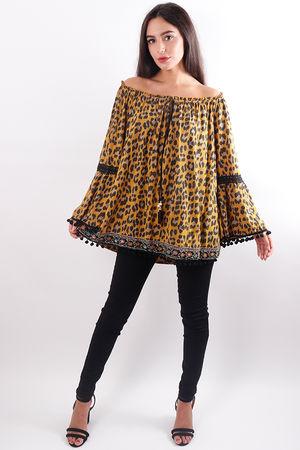 Leopard Pom Pom Top Mustard