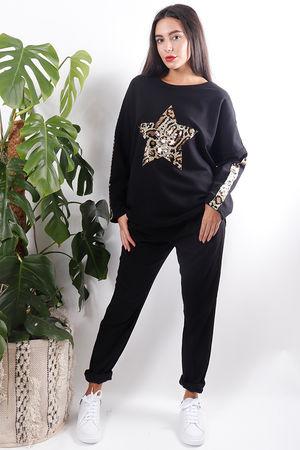 Leopard Sequin Star Sweat Black