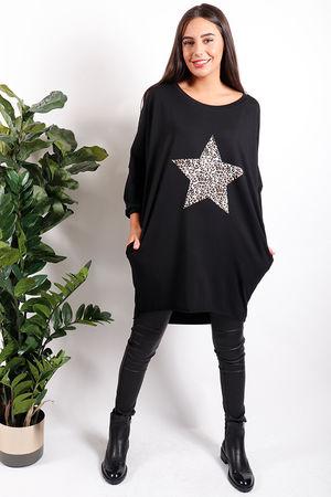 Leopard Star Tunic Black