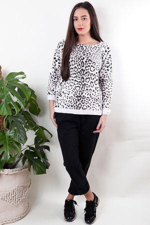Leopard Sweat White