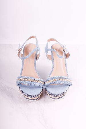 Light Denim Loubie Stud Wedges
