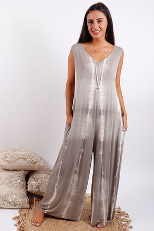 Lightening Pocketed Jumpsuit Mocha