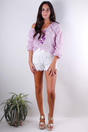 Lilac Embroidery Peasant Blouse