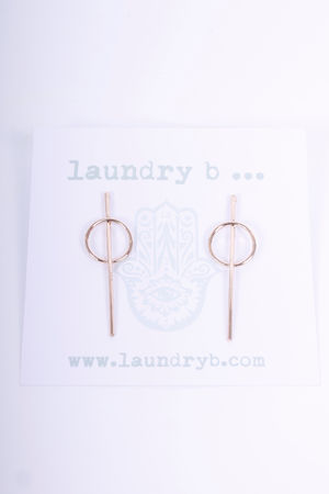 Line & Circle Earrings Gold
