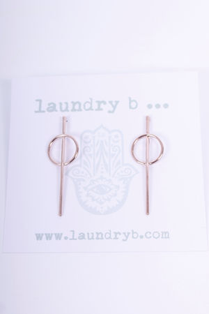 Line & Circle Earrings Rose Gold