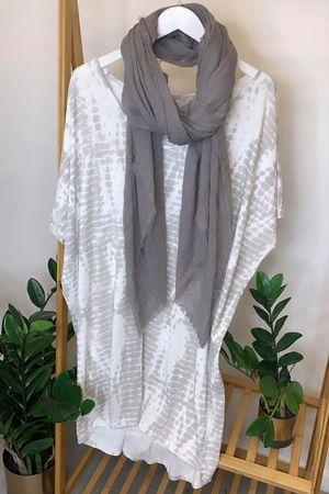 Linear Oversized Tie Dye Tee White & Dove