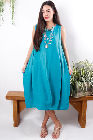 Linen Cocoon Dress Azure