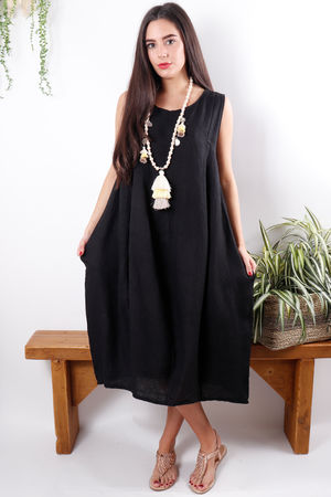 Linen Cocoon Dress Black