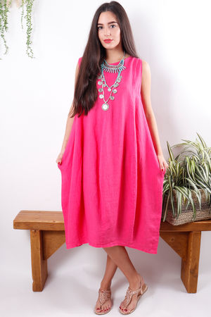 Linen Cocoon Dress Fuchsia