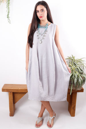 Linen Cocoon Dress Lilac Grey