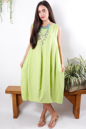 Linen Cocoon Dress Summer Lime