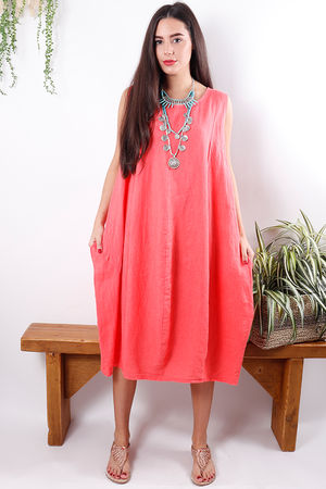 Linen Cocoon Dress Sunset