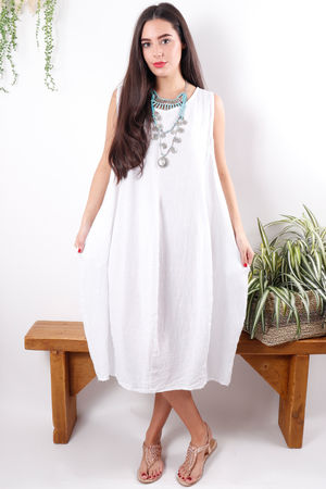 Linen Cocoon Dress White