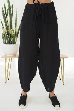 Linen Cocoon Pant Black