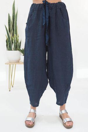 Linen Cocoon Pant Navy