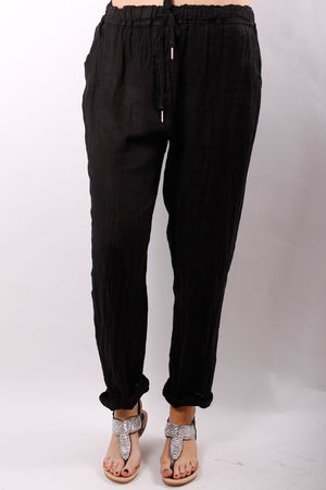 Linen Crop Turn Up Trousers Black