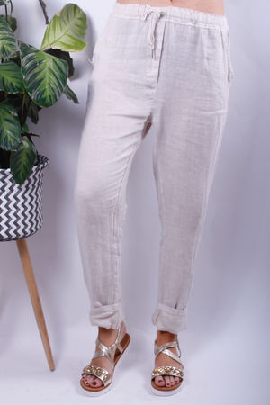 Linen Crop Turn Up Trousers Oat