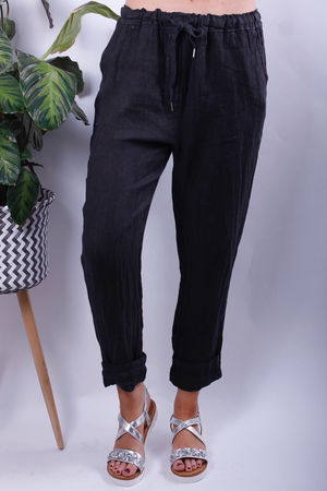 Linen Crop Turn Up Trousers Slate
