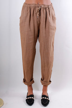 Linen Crop Turn Up Trousers Tan