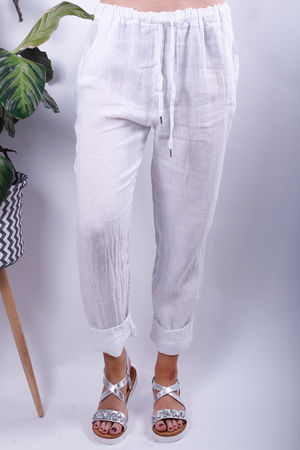 Linen Crop Turn Up Trousers White