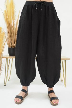 Linen Cuffed Cocoon Pant Black